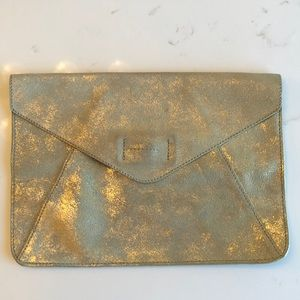 Suede, neutral with gold, envelope clutch. 🌙